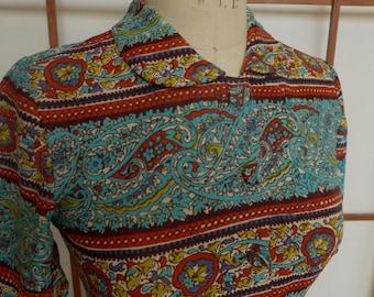 Vintage Paisley Print Knit Maxi Dress