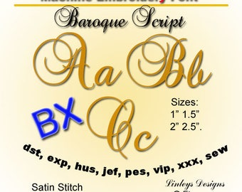 Download Monogram Embroidery Alphabet Baroque Font in 4 sizes.  BX