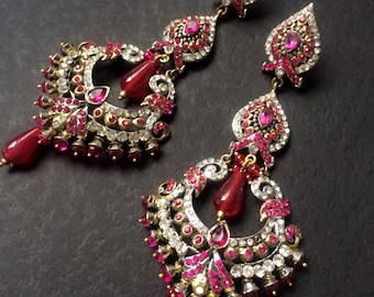 Hot Pink Chandelier Earrings,Pink and Gold Bridal Earrings,Wedding Jewellery,Jhumkas,Long Earrings by Taneesi