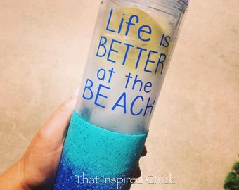 Ombre Glitter Tumbler/ Glitter-Dipped Skinny Tumbler/Clear Tumbler/ Life is Better at the Beach/16oz/ Beach Cup/Girls Trip/Vacation/Summer