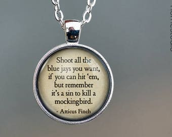 To Kill a Mockingbird Quote jewelry. Pendant, Necklace or Keychain Key Ring. Perfect Gift Present. Glass dome phrase words charm HomeStudio