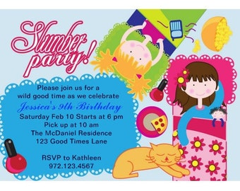 Birthday Party Invitation, Printable Girls Sleepover birthday invitation