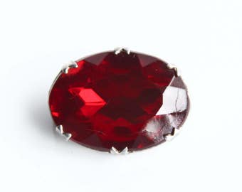 Vintage Ruby Red Faceted Glass Silver Brooch ~ Sterling Silver Brooches ~ Vintage Costume Jewelry