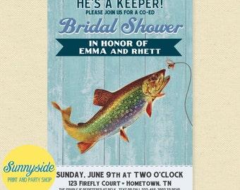 Fishing Bridal Shower Invitation, Printable Co-ed Wedding Shower Invitation, Bachelorette, Couples Invite, Catch, Keeper, Fisherman, Hooked