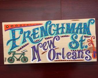 New Orleans art, Nola wood sign, new orleans wall art, new orleans theme, new orleans painting, new orleans folk art