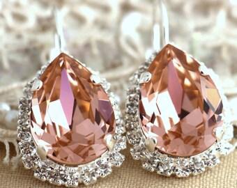 Blush Earrings,Swarovski Bridal Champagne earrings,Peach Drop Earrings swarovski crystal Earrings,halo earrings, Bridal Blush Drop earrings