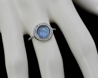 Aquamarine 8mm Cabochon With White Sapphire Accents .925 Sterling Silver