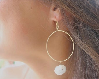 14kt Gold Filled Hoops Adorned with Natural White Clam Sea Shells