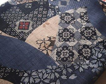 Japanese fabric, Dobby, Boro style, blue, indigo