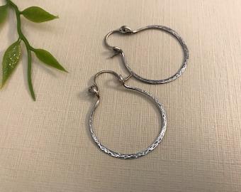 Rustic sterling silver hammered hoop earring