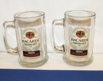 BACARDI GLASS MUGS Featuring the Bat Logo – Set of 2