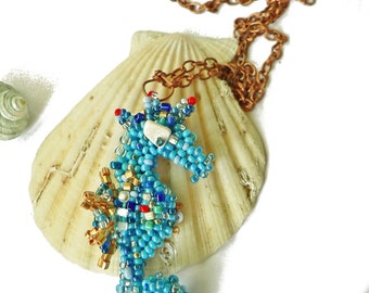 Beaded Blue Seahorse pendant in handmade/ Chain Necklace with pendant/ Sea jewelry/ Multicolour pendant/ Coupon code sale