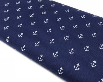 Navy Anchor Fabric By The Yard, Michael Miller Fabric Anchors, Designer Apparel Fabric, Cotton Fabric