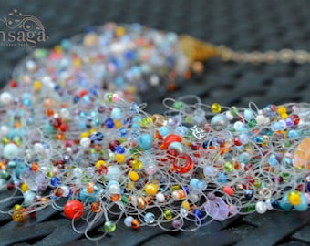 Colorful necklace, Wedding jewelry, Multistrand jewellery, Bridal, Bridesmaid, Best friend gift, Rainbow colors, Seed bead hippie choker