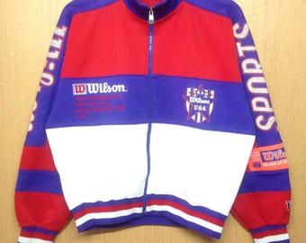 Rare !!! Vintage WILSON Sweater Embroidered Chicago USA Rare Design Color Block