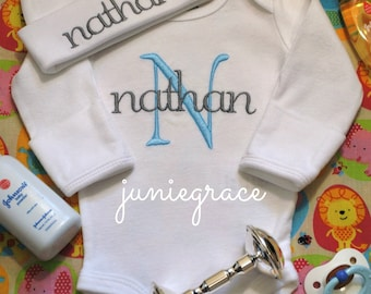 Baby Boy Coming Home Outfit Baby Boy Clothes Baby Boy Gift Newborn Boy Outfit Newborn Boy Clothes Newborn Boy Hat Monogrammed Boy Outfit
