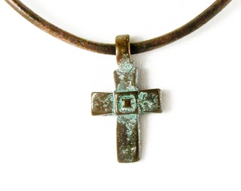 Patina Cross Necklace, Antiqued Copper Tone Cross Pendant Necklace, Brown Leather Necklace, Patina Jewelry