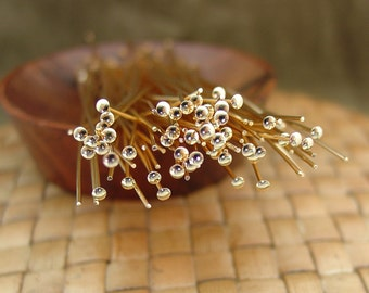 3 Inch Gold Plated Head Pins (21 gauge), 100 or 500 pieces