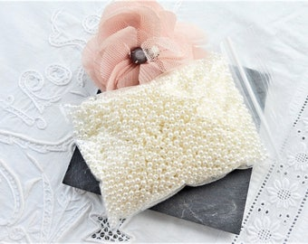 round Pearl, round resin, Pearl wedding special 3 mm + 3000 beads