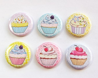 Cupcake Magnets, Button magnets, Kitchen Magnets, Food Magnets, Pastel Colors, Cupcakes, gift for baker, stocking stuffer (3261)