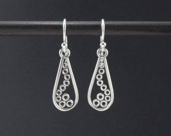 Silver Geometric Teardrop Earrings Sterling Silver Swirl Earrings, Circle Swirl Earrings, Filigree Earrings, Filigree Jewelry