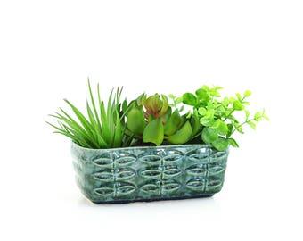 Mid Century Modern Planter / Vintage Brush McCoy Planter / Green Splatter Glaze Planter with Leaf Pattern / Vintage Succulent Planter