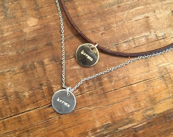 Karma Stamped Charm. Leather Choker. Chain Necklace