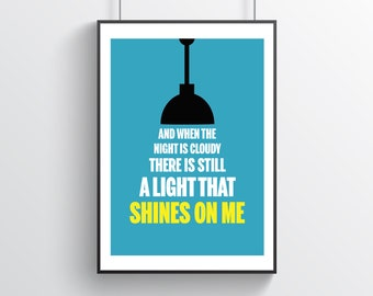Let It Be, There Is Still A Light That Shines On Me Wall Print | Poster | Typography | Quote | Colour | Beatles | Lyrics