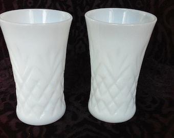Vintage Milk Glass Vases with Diamond Pattern - Set of 2 - Wedding Decor - Centerpiece - Vintage Wedding