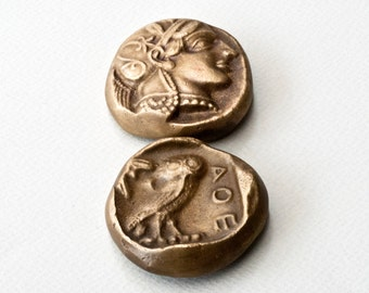 Ancient Greek Coin Paperweight, Goddess of Wisdom Athena and Owl Small Metal Paperweight, Museum Quality Greek Art, Desk Top Decor, Gift