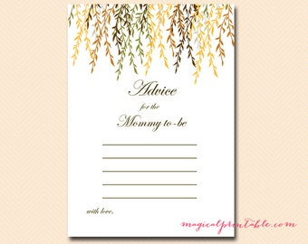Advice for mommy to be, advice for new mommy, advice cards for baby, Fall Baby Shower Games Printable, Fall Baby Shower, Download TLC104