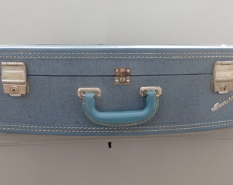 50s 60s vintage Emerald Suit Case Blue Suitcase Travel  Luggage Retro Decor
