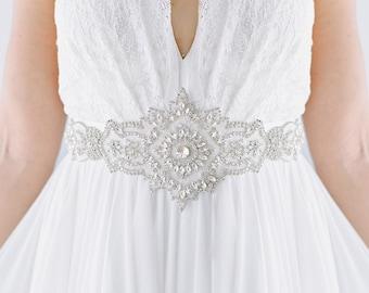 wide wedding sash, maternity sash, wedding dress sash, crystal sash, rhinestones sash, sparkle bridal sash -Orleans - Ready To Ship