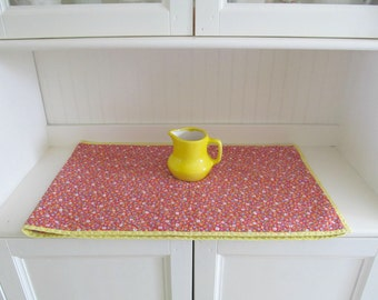 Vintage Red Calico Cotton Table Runner, Reversible Floral Print, Bright Cottage Style