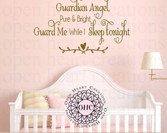 Guardian Angel Pure and Bright Wall Decal - Baby Nursery Childs Vinyl Wall Quote Saying Prayer Girl or Boy 22h x 36w CB0001