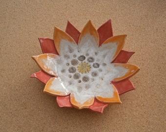 Lotus flower dish - Orange trinket dish - Tapas bowl - handbuilt stoneware dessert bowl