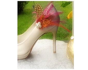 Shoe Clips Tangerine Orange Black Guinea & Fuchsia Watermelon Feathers. Bright Spring Couture, Bride Bridal Bridesmaid MOH Gift