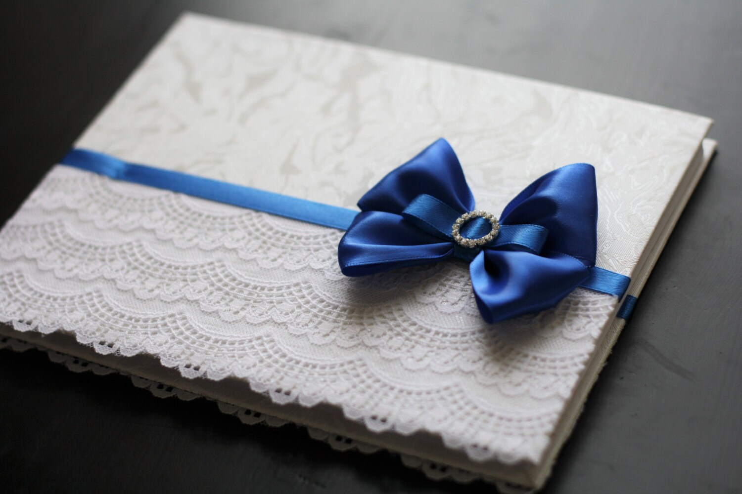 Royal Blue Wedding Guest Book Lace Baby Shower Book Blue
