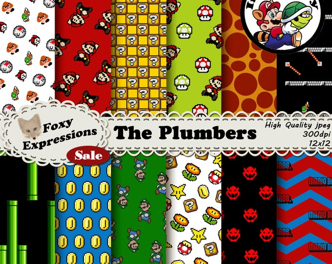 The Plumbers inspired by Super Mario Bros. Designs include Mario, Luigi, mushrooms, 1 ups, ? blocks, coins, boo, koopa troopa, pipes & more