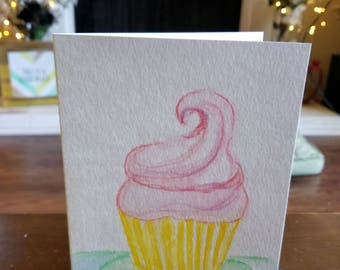 Hey Cupcake Hand Painted Card