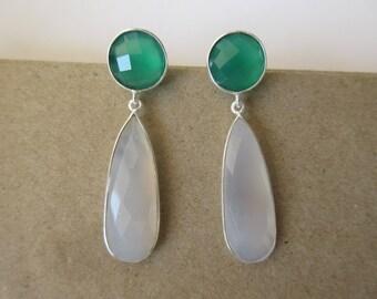 Green and White Chalcedony Tear Drop Earrings, Indian Earrings, Dangle Earrings, Bridesmaids Earrings, Earrings for Women - Gift for Her