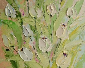 Mint breeze: Original palette knife oil painting, tulips painting, flowers painting