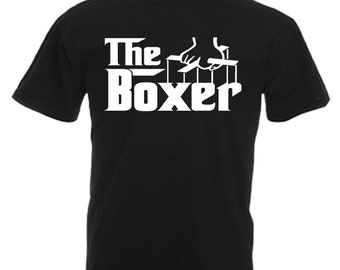 Boxer Mens Gift Adults Black T Shirt Sizes From Small - 3XL