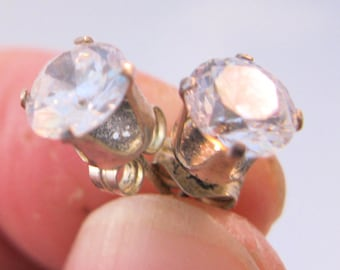 Vintage 2ct CZ Stud Earrings Sterling Silver Pierced Solitaire Jewelry Jewellery