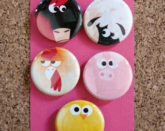 "Set of 5 Animal Badges ""Farm Creatures"" 32mmØ"