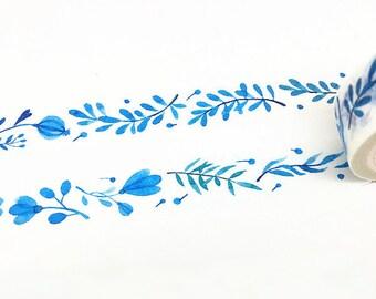 Blue Flowers Washi Tape