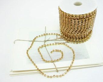 Gold Rhinestone Chain, Peach Crystal, (4mm / 1 Foot Qty)