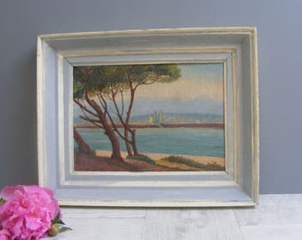 Little Antique French Provencal Seascape Painting, Oil on Panel, signed JB.