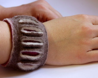 Beige, white and pink felted cuff bracelet
