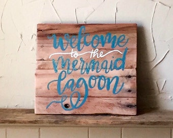 Mermaid sign - nautical sign - mermaid wall decor - mermaid lagoon - rustic wood signs - reclaimed wood signs - painted wood sign